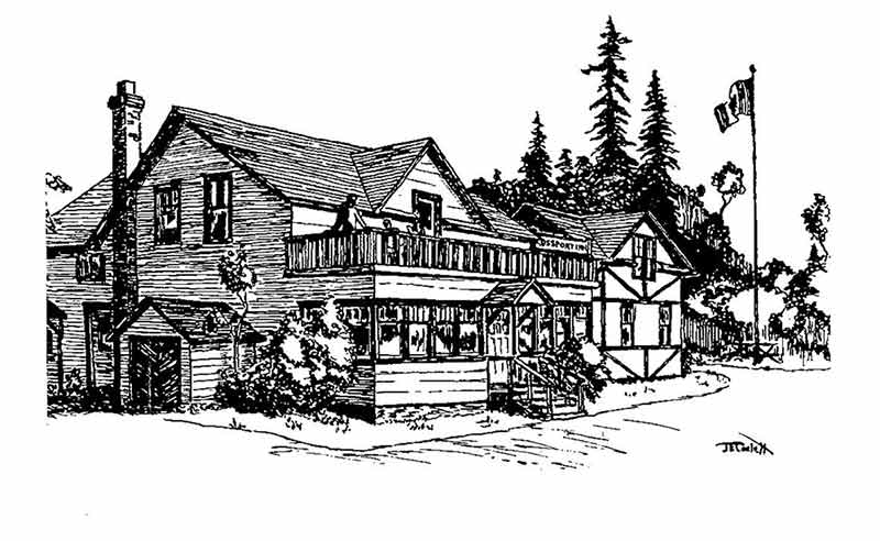 Rossport Inn - line drawing by Jim